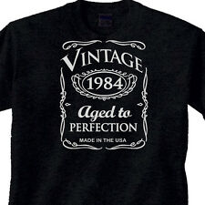 "31st BIRTHDAY Black T-Shirt OLD WHISKY Style ""Vintage 1984"" 31 Year BDay"