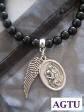 PICK YOUR SAINT Saints Medal On Black Agate Beaded Bracelet Religious Patron