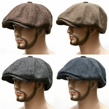 HERRINGBONE TWEED Gatsby 8 Panel Newsboy Cap Golf Flat Cabbie Hat ~HT8