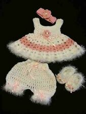 Crocheted Baby Outfit 4 pcs Dress Diaper Cover Shoes Headband White and Pink