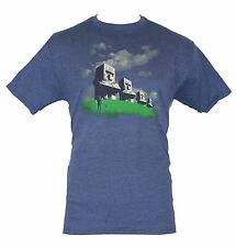 Minecraft Mens T-Shirt -  Steve Creates His Own Easter Island Image