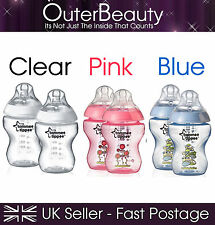 Tommee Tippee Closer To Nature 2 Pack - Clear, Pink, Blue 260ML Feeding Bottles