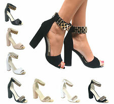 LADIES WOMENS STRAPPY SANDALS BLOCK HEEL GOLD METAL CUFF STRAP HIGH HEELS SHOES