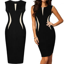 New Celeb Ladies Bodycon Pencil Black Cocktail Evening Party Dress UK Size 8-16