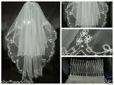 New 2t white/ivory Elbow Beaded Edge Embroidery Pearls Bridal Wedding Veil +Comb