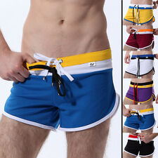 MEN'S ELASTIC DRAW-STRING TRUNKS SPORT HOME SHORTS DREAM SPLIT BOXER UNDERWEAR