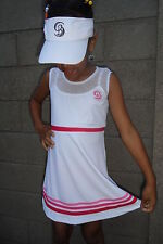 Girls White Tennis Dress Netball/Badminton/Squash age 5-14 year old + Wristband
