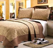 Home Sense 3 Pcs Luxury Microfiber Embroidered Bedspread Coverlet Quilt Set