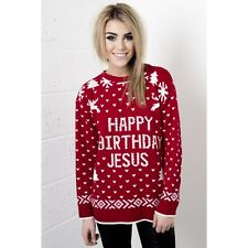 Ladies Womens Christmas xmas Jumper Sweater Knitted Slogan Jesus Size 8-14