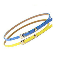 Fashion Girl Lady Cross Buckle Candy Color Thin Skinny PU Leather Belt Waistband
