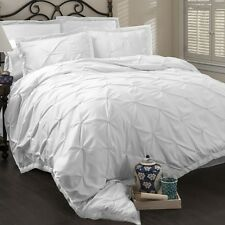 NEW WHITE BED 6 PC COMFORTER SET Bedding SOLID RUCHED Set Queen King Cal Elegant