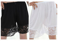 "Women's 20"" VISCOSE Rayon Lace Slip Intimat Pants Slip Pettipants Black White XL"