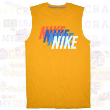 NIKE Yellow Sleeveless T-Shirt Tank Top Singlet 90s Style