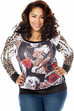 Womens plus size l/s sublimation  lady printed top  fashion trendy hot bae
