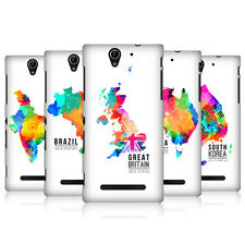 HEAD CASE DESIGNS WATERCOLOURED MAPS CASE COVER FOR SONY XPERIA C3 DUAL D2502