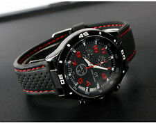 Men's Watch Quartz Silicon Wristwatch Sports Watch Wristwatch Black RED U1393