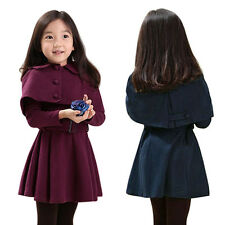 Toddler Girls Dress Trench Coat Wind Jacket Kids Double-Breasted Outwear Clothes
