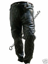 100% GENUINE LEATHER SAILOR BREECHES PADDED GAY BLUFF BIKERS TROUSER 1d custom