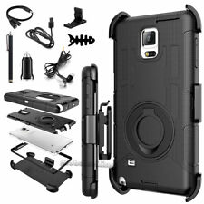 Rugged Hybrid Hard Case Soft Cover+Belt Clip Holster For Samsung Galaxy Note 4