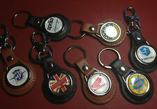 SECOND QUALITY CLASSIC & MODERN MOTORCYCLES LEATHER KEY RINGS IN BLACK & TAN: