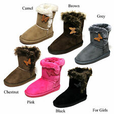 New Girls Suede Fur Lined Snow Boot With One Side Button Kid's Shoes Size 10-4