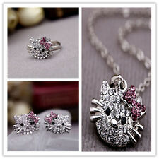 Fashion Full Shiny Crystal Cute Cat Stud Earrings Ring Necklace For Girls Gift