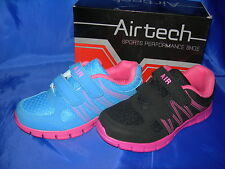 Girls Trainers Velcro Lightweight Black/Pink or Blue/Coral SPRINT Sizes 10-2