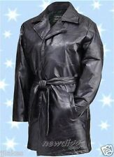 New Woman's Black Leather Jacket Coat Wrap With Belt Closure size L or XL or XXL