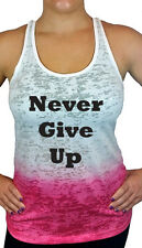 Never Give Up Ombre Burnout Racerback Tank Top, Fitness Workout Shirt Top