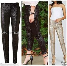 "SEQUIN LEGGINGS ""KOURTNEY"" COZY FULLY LINED! BLACK GOLD SKINNY PANTS USA $79"