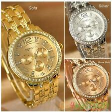 Hot Sale Womens Lady Luxury Gold Crystal Quartz Rhinestone Crystal Wrist Watch