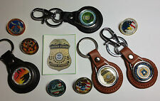 U.S. FEDERAL AIR MARSHAL LEATHER KEY RINGS & GOLD & SILVER PLATED BADGES
