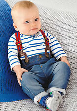 Newborn Baby Kids Boy Blue Stripe T shirt Jersey Jeans Braces 2pcs Set Outfits