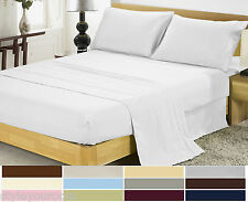 2000 Thread Count Solid 4 Piece Bedding Deep Pocket Bed Sheet Set in All Size