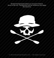Skull With Hat and Oars Paddles Kayak Canoe 6.6 inch Vinyl Decal Die Cut Sticker