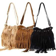 Women Tassel Fringe Faux Leather Shoulder Messenger Cross Body Hobo Bag Handbag