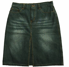 Express Jeans Women's Denim Skirt Slit-Front Faded Distressed Look