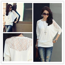 New Women Sexy Hollow Out Korean Lace Slim Hot Long Sleeve T Shirt Blouse Tops