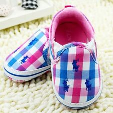 Pink Blue & White Baby Girl Infant Ralph Lauren  Polo Cotton Summer Casual Shoes