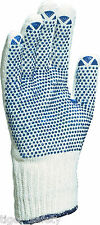 x12 Pairs Delta Plus Venitex TP169 White Cotton Safety Work Gloves With PVC Dots