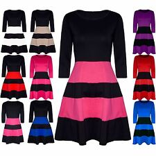 Womens Ladies Block Stripe Panel 3/4 Sleeve Flared Franki Skater Dress Plus Size
