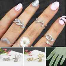 3pcs Fashion Women's Alloy Gold/Silver Rhinestone Leaf Above Knuckle Finger Ring