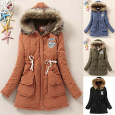 2015 Womens Girls Winter Trench Long Hooded Cotton Blend Parka Coat Jacket XXS-L