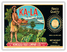Ka-La Sun Brand Topless Hawaiian Girl Vintage Can Label Art Poster Print