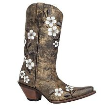 "Women's Durango Crush 12"" Floral Embroidered Brown/White Western Boots RD3542"