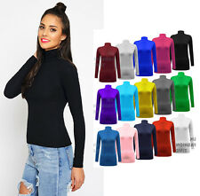 New Womens Ladies Polo Roll Neck Plain Long Sleeve Top TShirt Stretchy Plus Size