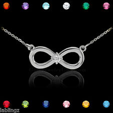 White Gold Infinity CZ Birthstone Necklace (Made in USA)
