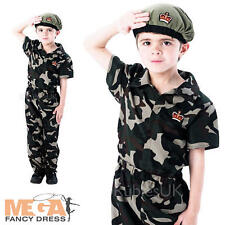 Army Soldier + Beret Boys Fancy Dress Military Camo Kids Childs Costume Outfit