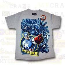 MARVEL UNLEASHED Captain America Spiderman Boys Youth T-Shirt