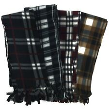 New Unisex Plaid Pattern Fleece Scarf 60in x 12in Scarves - Super Soft and Cute